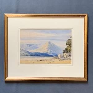John Callow OWS Watercolour Mountains Backing a Tidal Estuary
