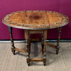 Victorian Carved Oak Gate Leg Table
