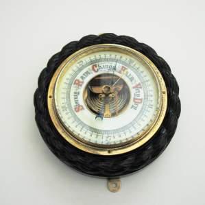 Edwardian Ebony Aneroid Barometer