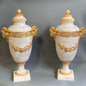 19th Century Impressive Pair of Carrera Marble Cassolettes