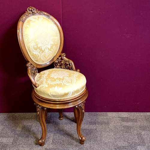 Fine 19th Century Walnut Adjustable Harpist Chair image-1