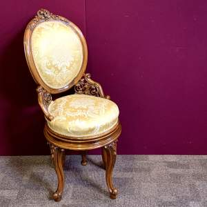 Fine 19th Century Walnut Adjustable Harpist Chair