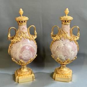 19th Century Pair of Marble Cassolettes