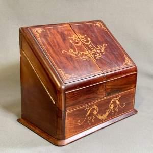19th Century Inlaid Rosewood Stationary Box