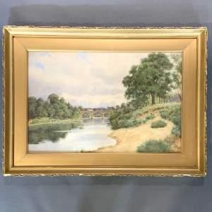 Watercolour On The River Tyne by John J Potts