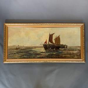 19th Century Oil on Canvas of a Fishing Boat