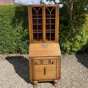Carved Oak Bureau Bookcase