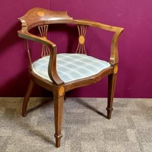 Edwardian Mahogany Inlaid Sheraton Style Elbow Chair