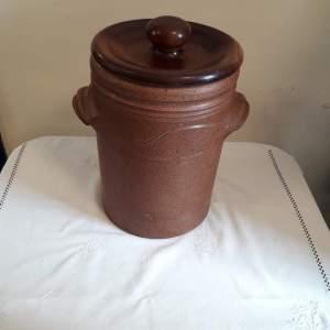 Large Salt glazed Stoneware Storage Pot with Wood Lid
