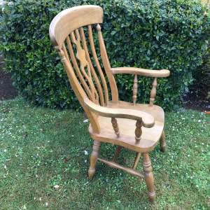 Vintage Pine Highback Windsor Farmhouse Chair