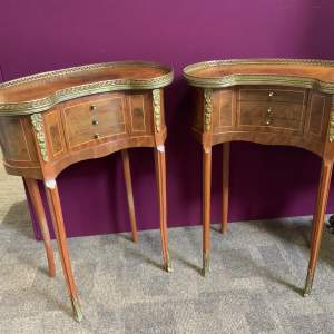 Pair Of French Brass Mounted Kidney Shaped Side Tables