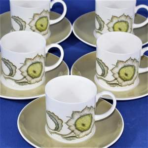 5 Susie Cooper 1960s Sunflower Design Coffee Cans and Saucers