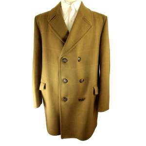 Vintage Dunn and Co Tailored Medium 42-44in Medium Brown Overcoat