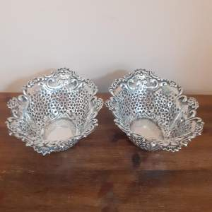 Pair of Victorian Pierced Sterling Silver Dishes