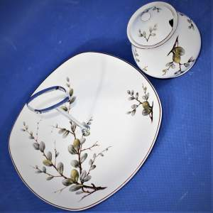 Midwinter Spring Willow Cake Plate and Lidded Jam Honey Pot