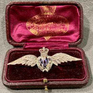 9ct Gold and Diamond RAF Sweetheart Wings Brooch