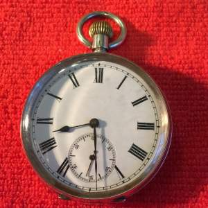 Continental Silver Top Winder Pocket Watch Stamped 935