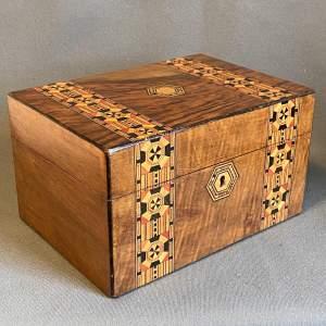 Victorian Tunbridgeware Inlaid Walnut Jewellery Box