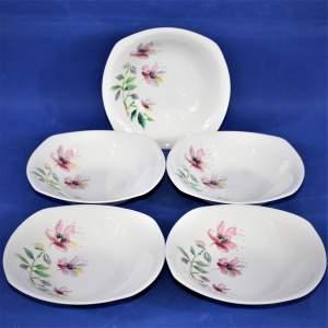 Vintage Retro 1950s Midwinter Stylecraft  Sharon Five Dessert Bowls