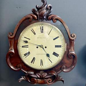 19th Century Twin Fusee Dial Wall Clock