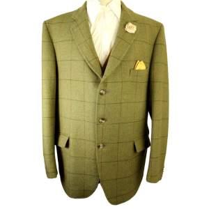 Vintage Bespoke Worsley Tailored Size 48in Green Tweed Jacket