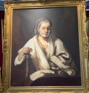 Stunning Large Portrait Oil On Canvas After Rembrandt Wonderful