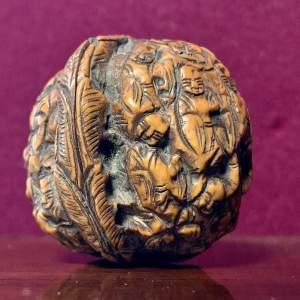 Unusual Japanese Carved Walnut