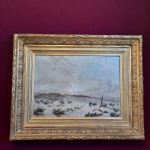 19th Century Continental Oil on Canvas of a Winter Landscape