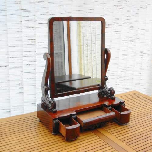 Large Victorian Mahogany Table Mirror image-5