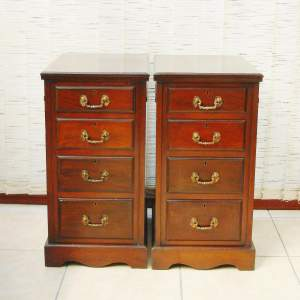 A Pair of Edwardian Mahogany Chests or Bedside Cabinets