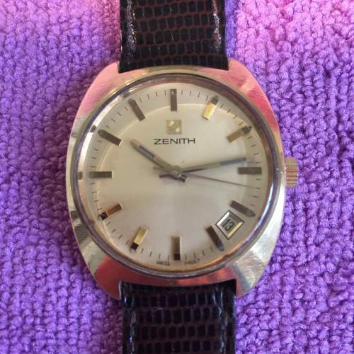 Zenith Gold Plated Manual Wind Watch with Date Circa 1970s image-1
