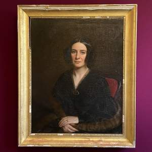 Victorian Oil on Canvas Portrait of a Lady in Mourning