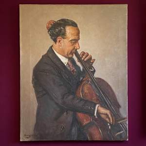 Unframed European School Portrait of a Cellist
