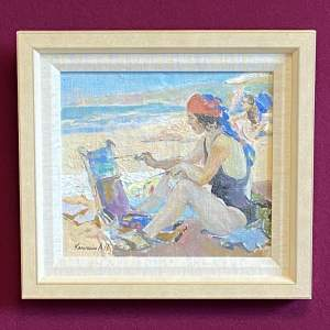 Russian School Oil on Canvas Beach Scene