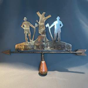 Brass and Cast Iron Woodcutter Weather Vane