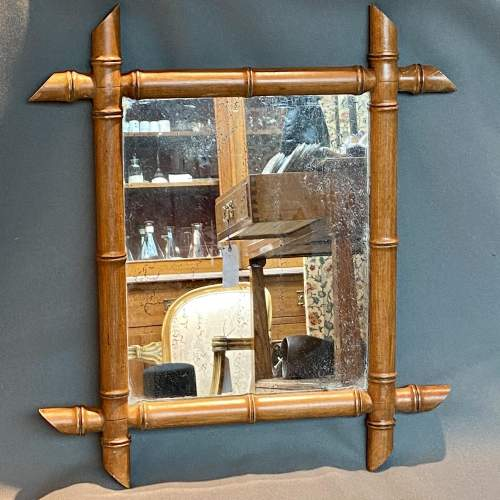 19th Century Cherry Wood Bamboo Effect Wall Mirror image-1