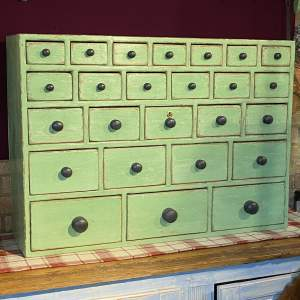 Victorian Green Painted Pine Bank of 25 Drawers