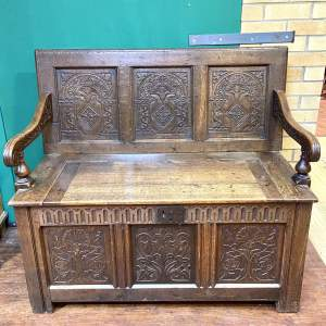 19th Century Oak Carved Monks Box Settle