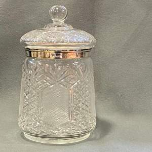 Victorian Cut Glass Silver Collar Biscuit Barrel
