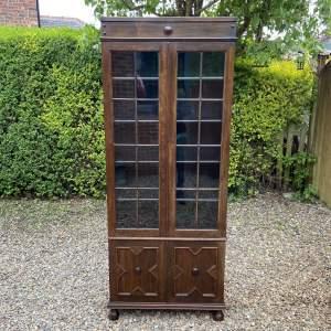 Early 20th Century Oak Bookcase On Cupboard