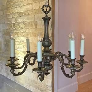 Bronzed Flemish Style Brass Chandelier