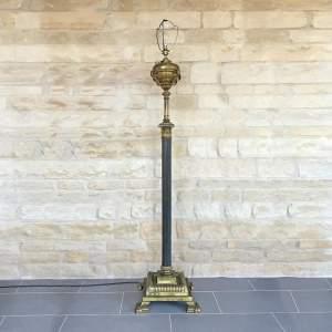 Victorian Brass Oil Lamp on Ebonised Reeded Column
