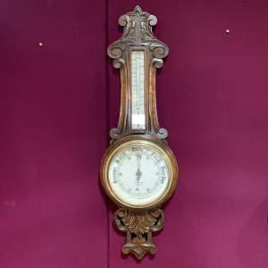 Late 19th Century Oak Aneroid Barometer