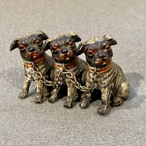 Small Cold Painted Metal Row of Three Dogs