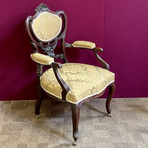 Victorian Carved Mahogany Chair image-1