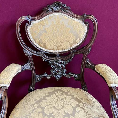 Victorian Carved Mahogany Chair image-3