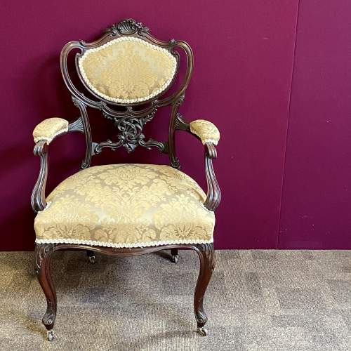 Victorian Carved Mahogany Chair image-2