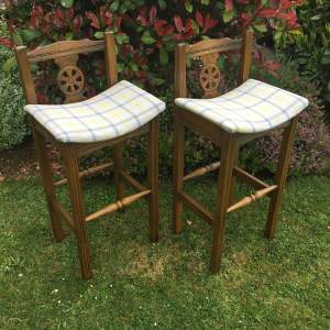 Pair of Solid Oak Old Charm Stools