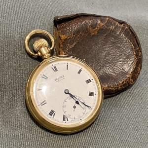 Mid 20th Century Swiss Vertex Gold Plated Pocket Watch