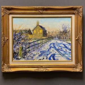 Farm in the Snow Oil on Canvas by Mike Healey
